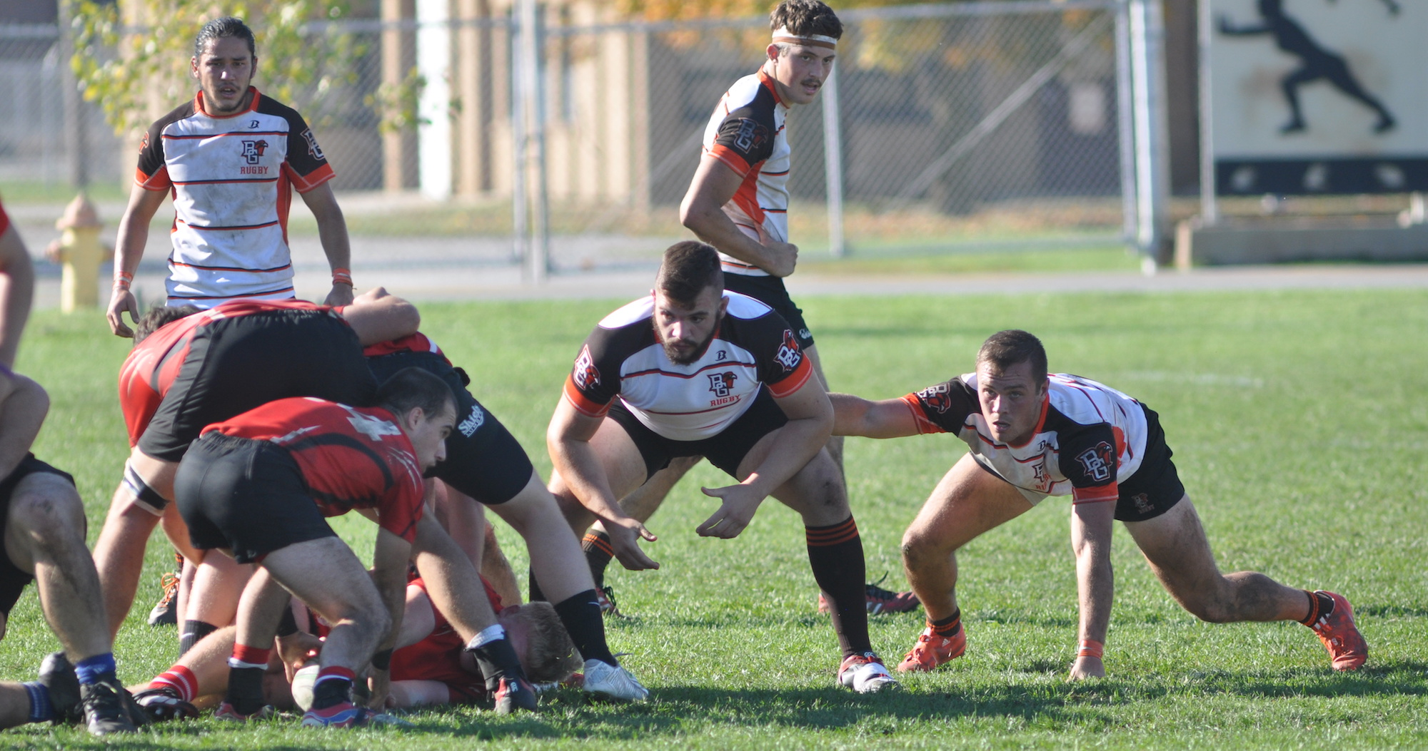 Bowling Green sets the defensive line v Cincinnati in the MAC Rugby Conference final November 6, 2016.