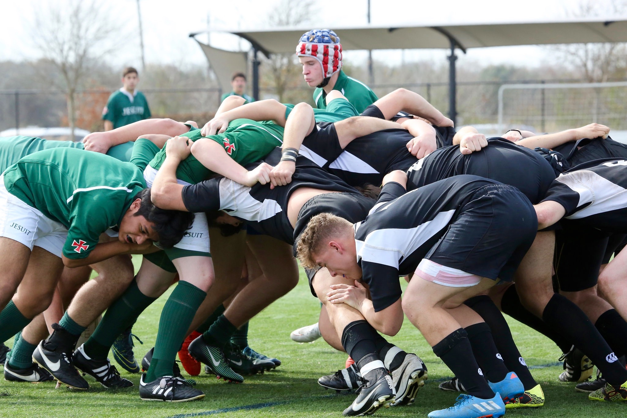 Strake Jesuit scrum with Four Points. Rugby Texas action 2017. Elizabeth Pardee photo.