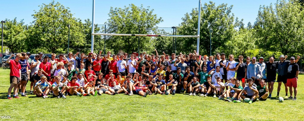The HS rugby teams from Jesuit Sacramento and Granite Bay post together after a joint practice. All are waring a red wristband in support of injured former Jesuit player Robert Paylor. Dan Bandoni photo.
