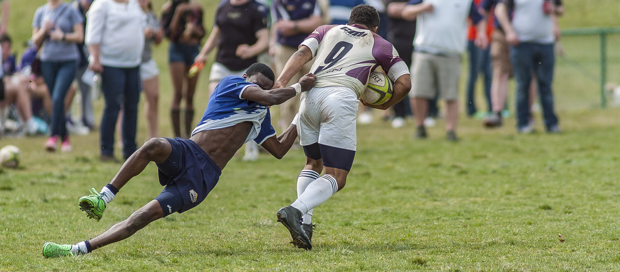 Dmontae Noble in action for Kutztown University Rugby March 25, 2017. Colleen McCloskey photo.