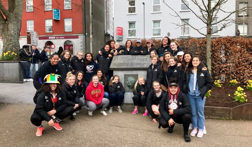 Lindenwood University women's rugby on tour in Ireland with Irish Rugby Tours.