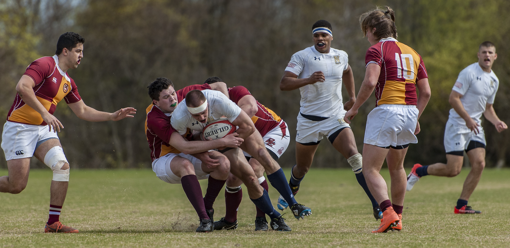 Navy v Boston College rugby in the 2017 Varsity Cup. Colleen McCloskey photo for Goff Rugby Report.