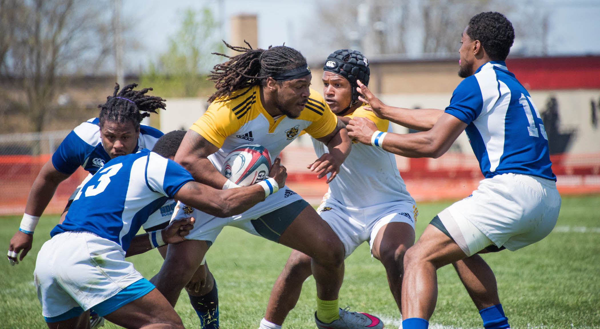 Christian Adams in action for AIC Rugby. Spring 2016. Kevin Mercer photo.