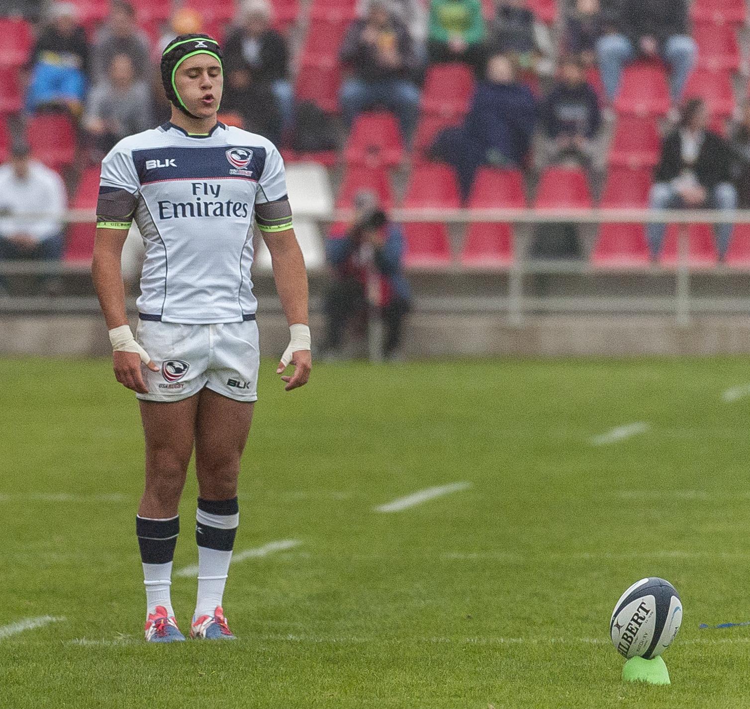Ben Cima lines up a kick for USA v Uruguay Feb 4. Colleen McCloskey photo