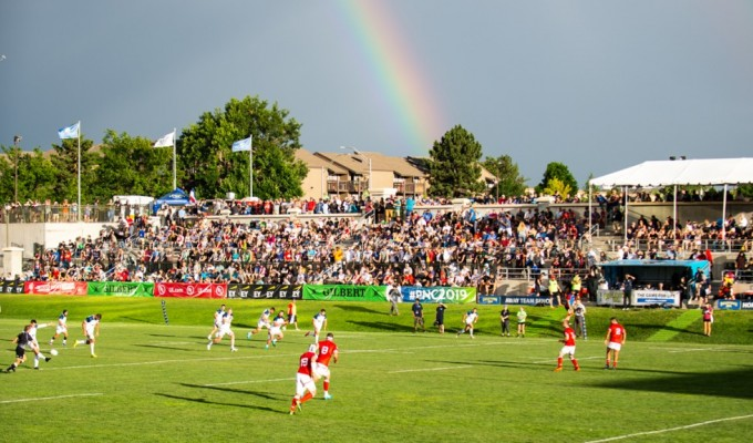 USA vs Canada at Infinity Park from 2019. With a rainbow in the distance. David Barpal photo.