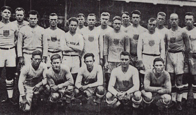 The 1920 Olympic rugby team. Charles Doe is in the front row, far left.