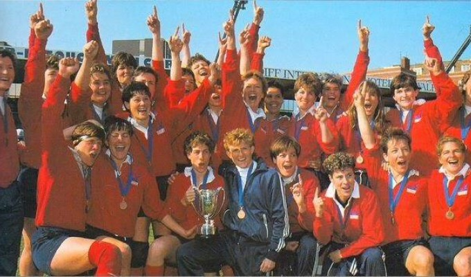 The 1991 World Cup winners. Chris Harju is standing to the left with her left arm raised.