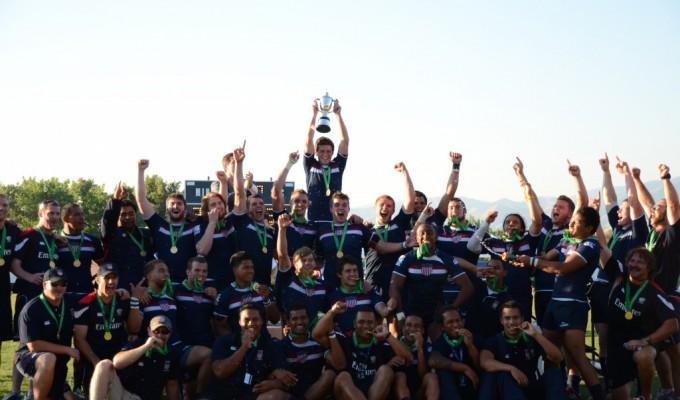 The USA U20 men winning celebrating winning the 2021 World Rugby Trophy. Photo P. Crane.