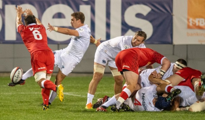 Cam Dolan watches Ruben de Haas launch a box kick. The USA kicking game was on-song on Saturday. David Barpal photo.