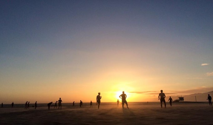 Beach rugby in the sunset. Photo The Rugby Corner.
