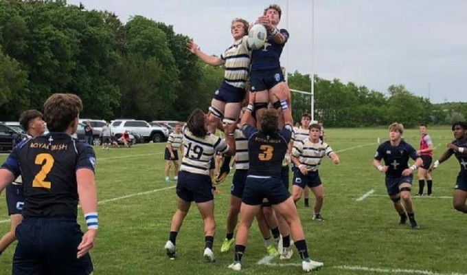 Royal Irish in blue and Dwenger in stripes contest the lineout.