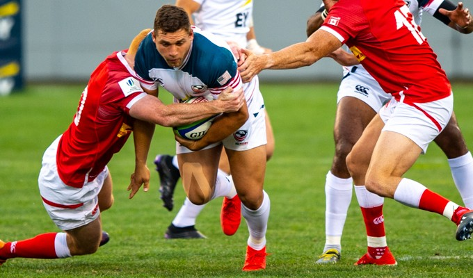 Bryce Campbell takes the rock up against Canada in 2019. David Barpal photo.