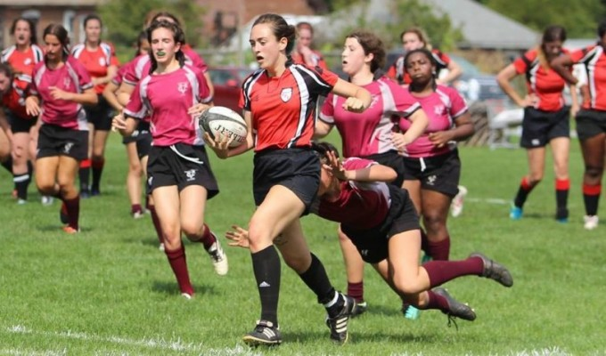 Caitlyn Moustouka of RPI. Photo RPI Women's Rugby.