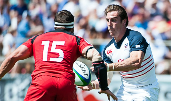 Chris Wyles passes off against Canada in 2014. David Barpal photo.