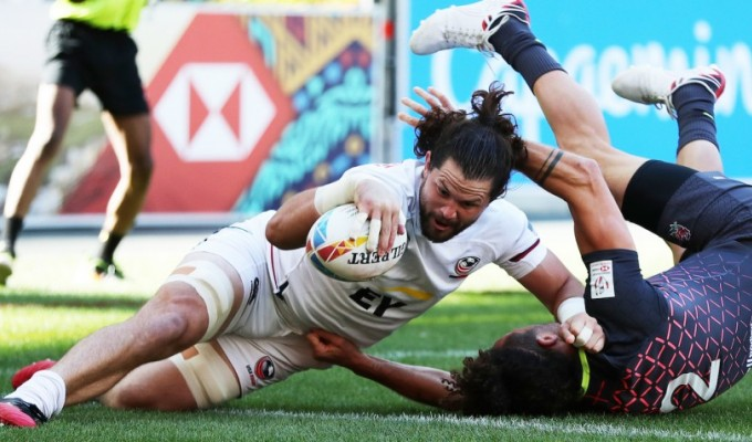 Danny Barrett powers over against England. Mike Lee KLC Fotos for World Rugby.