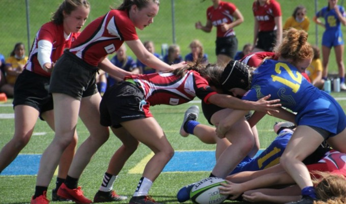 DSHA in red works the ruck against Catholic Memorial.