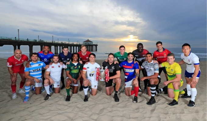 All 16 captains are at the beach. Photo World Rugby.
