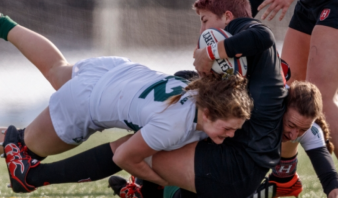 Emily Henrich can tackle too. Photo Dartmouth Athletics.