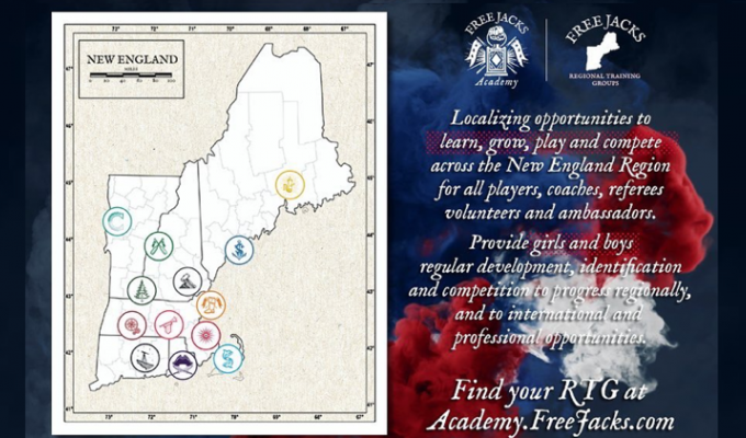 The New England Free Jacks Academy map.