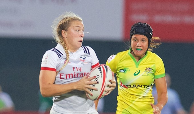 Kelsi Stockert on the break against Australia in Dubai in 2017. Ian Muir photo.