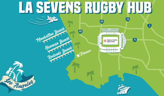 The LA 7s Rugby Hub Map