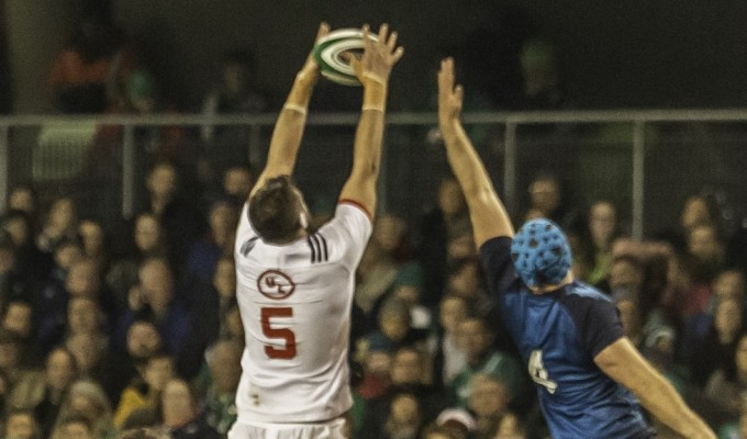 Nick Civetta goes up for a lineout throw against Ireland in 2018. Colleen McCloskey photo.