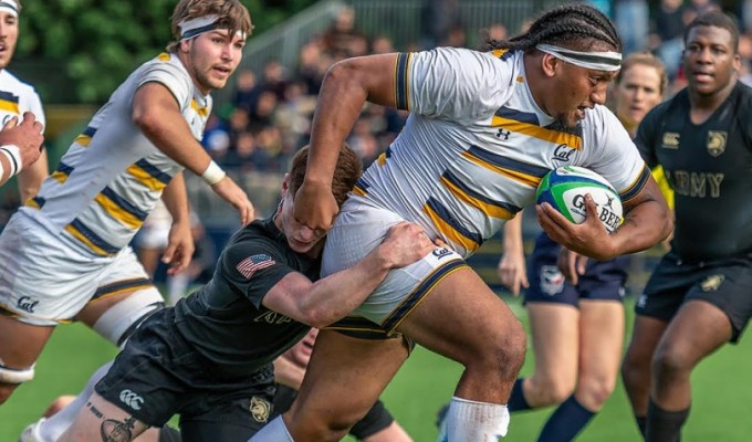 Lone Toailoa charges ahead For Cal against Army. Guy Warren photo