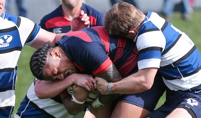 Payton Telea Ilalio charges ahead against BYU. Photo: Saint Mary's Rugby