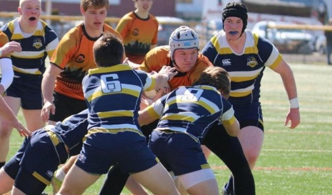 Sederik Saxon busts ahead for the Charlotte Tigers. Photo Charlotte Tigers Rugby.