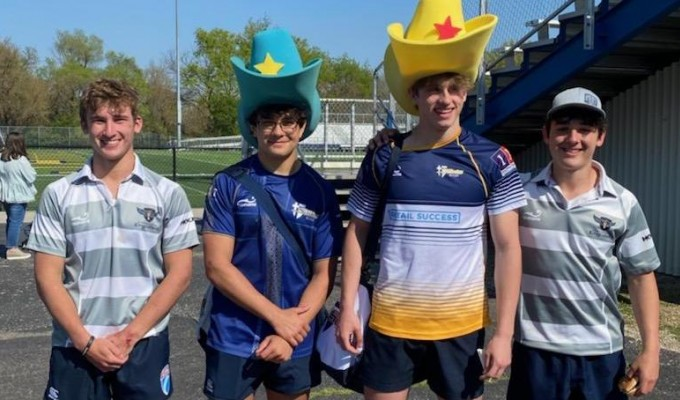 Top players from each team got jerseys and ... hats (?).