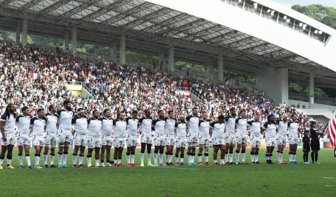 The USA team at RWC 2019 in Japan. Getty Images for Rugby World Cup.