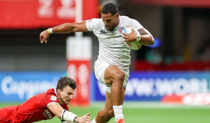 Martin Iosefo steps out of a tackle. Photo P. Yates for World Rugby.