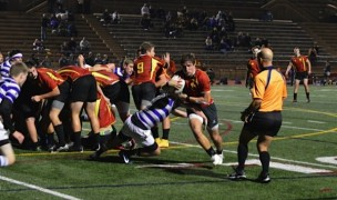 Torrey Pines HS rugby team flanker Mason O'Rosky takes the ball directly out of the scrum, and turns upfield against St. Augustine December 19.  Photo:  Denise Cavanagh