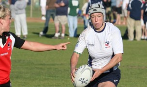 Pam Kosanke with the USA 7s team in San Diego in 2008. Ian Muir photo.