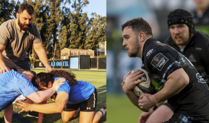 Alex Corbisiero with the UCLA forwards at left. Adam Ashe playing for Scotland. Photos UCLA Rugby and INPHO / Craig Watson.