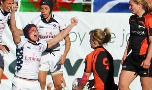 Amy Daniels celebrates scoring against the Netherlands in 2012. Numina Photo.
