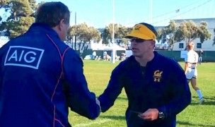 Tom Billups shakes hands withthe oppoising coach after a game at Treasure Island. Alex Goff photo.