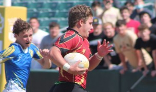 Jacob Schmidt on his way to his third try of the day.