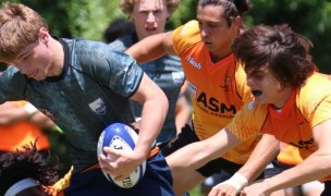 Charlotte in gray, Jaguares in orange. Charlotte Tigers Rugby photo.
