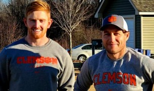 Clemson Director of Rugby Troy Hall, right, and new graduate assistant Darragh Leader, left.