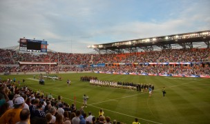 USA and Ireland line up to face each other at BBVA Compass Stadium in Houston in 2013. Ian Muir photo.
