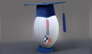 USA Rugby ball in a graduation cap