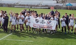 Iowa Central CC Celebrates winning the 2019 DIAA fall championship.