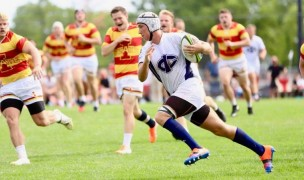 Iowa State defenders on the chase against the Tritons. Photo Iowa Central CC Rugby.
