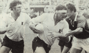 Jack Clark carries the ball against Canada in 1979. Photo Rugby Magazine.