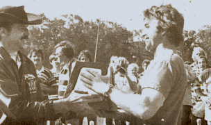 Jerry Walter accepts the trophy for the BATS winning the 1975 Golden Gate tournament. Photo Rugby Magazine.