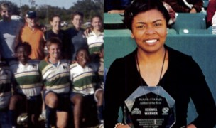 Keenya Warner with her player of the year trophy in 2003. Photo Rugby Magazine