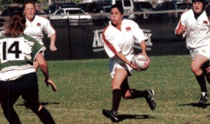 Laura Cabrera on the attack for the Pacific Coast in 2005. Rugby Magazine photo.