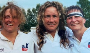 MA Sorensen, center, with Eagle front-rowers Tricia Turton and Liz Kirk.