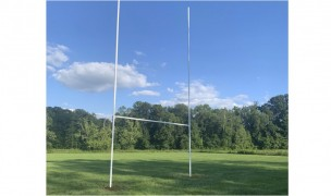 The rugby posts at Marian University's new rugby field.